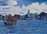 黃永康繪畫作品《香港維多利亞港與帆船》