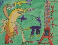 水彩、廣告彩作品《巴黎鐵塔的戰爭》