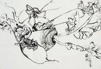 水墨作品《蘿蔔上的昆蟲》