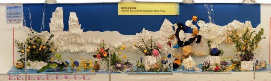 一眾參加者的花藝及紙藝作品