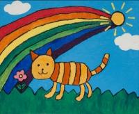 油畫布本作品《小貓與我》