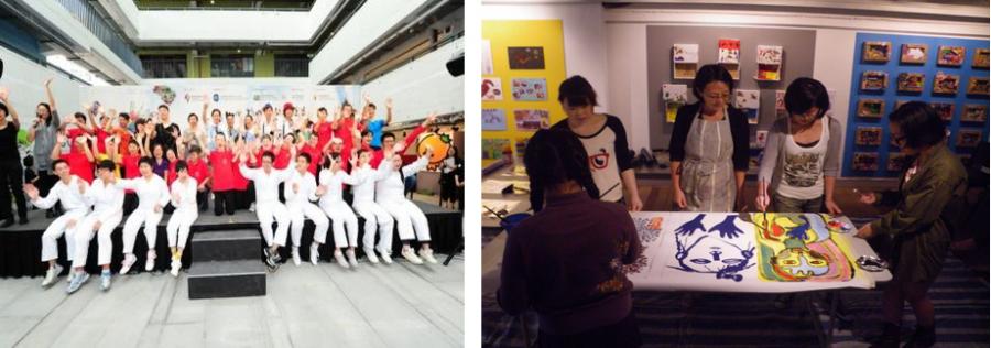 《多一點藝術節》- 賽馬會共融藝術計劃2010-11年度周年展覽(右)及演出(左)