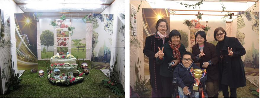 北區花鳥蟲魚展覽會2011作品(左)、註冊攝影及花藝藝術家獲頒「最佳小型展覽攤位」獎項合照(右)