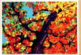 廖東梅繪畫作品《柿子樹》