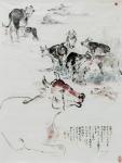 譚敏玲水墨設色紙本作品《醉駕飛車連環輾斃八隻牛》