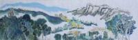 黃潤銓水墨設色紙本作品《八仙迎獅》