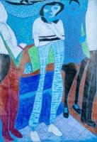 木顏色紙本作品《我的老師和同學》