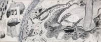 姜旭倫鉛筆及水彩紙本作品《野外》