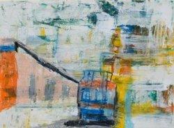 油粉彩、廣告彩及油畫紙本作品《我愛坐火車》