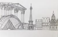 李敬滿油性筆紙本作品《我喜歡的巴黎》