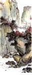 楊文海水墨設色紙本作品《清谷幽泉》