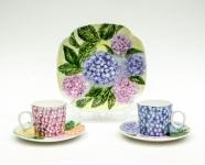 劉賽珠彩繪瓷器作品《繡球花瓷(一套5件)》