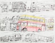陳子賢原子筆及木顏色紙本作品《巴士遊踪(一)》