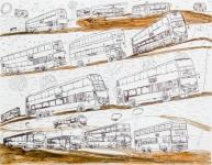 陳子賢原子筆及木顏色紙本作品《巴士遊踪(二)》