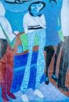 梁永祥木顏色紙本作品《我的老師和同學》