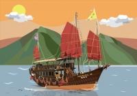 張嘉莉電腦繪圖設計作品《落霞與船》