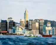 曾千禧油畫布本作品《寫意香港》