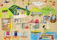 黎卓峰木顏色紙本作品《港九混合飛機遊艇之旅》