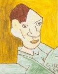 王航杰油粉彩紙本作品《臨摹—畢加索》