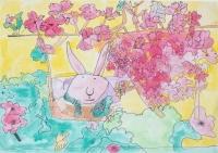 邢益隆油性筆及水彩紙本作品《春暖花開兔仔跳》
