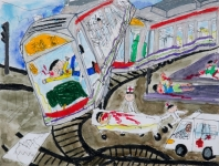吳瑋呈油性筆及油粉彩紙本作品《輕鐵751事故》