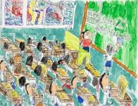 吳瑋呈油性筆及油粉彩紙本作品《派默書簿了》