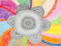 何艷珠油性筆及木顏色紙本作品《文字花》