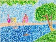 何艷珠油粉彩紙本作品《塞納河》