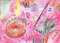 陳俊浩油性筆及水彩紙本作品《紅花園》