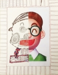 麥紀豪原子筆紙本作品《爸爸的微笑》
