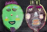 梁娓萁塑膠彩紙本作品《戴著地球人面具的外星人》