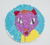 黃文俊拼貼紙本作品《可愛的小貓咪》