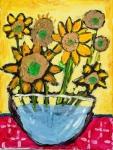 程廣德塑膠彩紙本作品《我的太陽花》