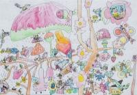 鄧丞亨油性筆及水彩紙本作品《春之狂想曲》