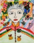 賴雪樺油性筆及木顏色紙本作品《電視人物》