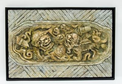 久又雕塑作品《獅子滾球》(中國文化)