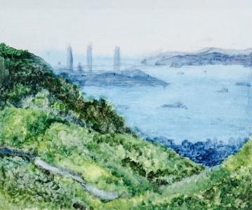 黃潤銓水墨設色紙本作品《遠眺南丫島》