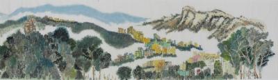 黃潤銓水墨設色紙本作品《八仙迎獅(局部)》