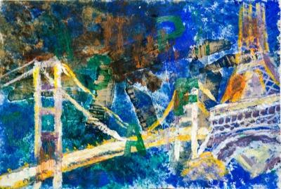 周昭明混合媒體作品《當巴黎鐵塔與青馬大橋為鄰》