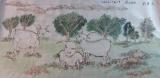 黃潤銓水墨畫作品《三羊行》