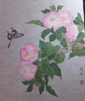 黄润铨水墨画作品《茶花》