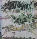 黃潤銓水墨畫作品《貨櫃之港》