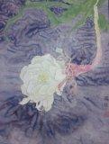雅韻黃潤銓水墨畫作品《曇花一現》