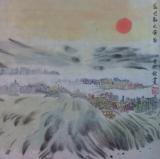 雅韵黄润铨水墨画作品《藍巴勒之黃昏》