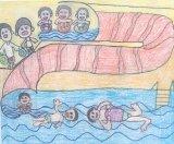 陳顯卓繪畫作品《水上樂園的水上滑梯 》
