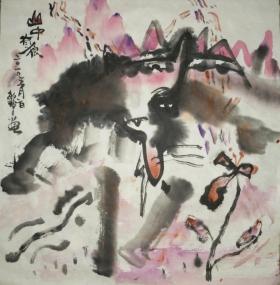譚敏玲水墨畫作品《山中有狼》