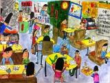 吳瑋呈繪畫作品《熱鬧的茶餐廳》
