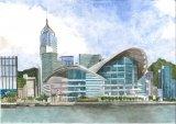 郭啟業水彩作品《香港會議展覽中心》