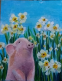 趙惠芝繪畫作品《小豬與水仙》