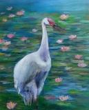 趙惠芝繪畫作品《蓮花池中的白鶴》